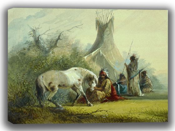 Miller, Alfred Jacob: Shoshone Indian and his Pet Horse. Fine Art Canvas. Sizes: A4/A3/A2/A1 (003839)